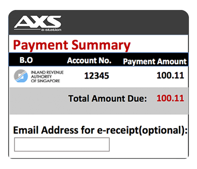 Choose any payment options available in AXS.