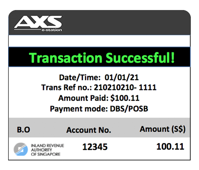 An acknowledgement will be shown in AXS once the payment is successful.