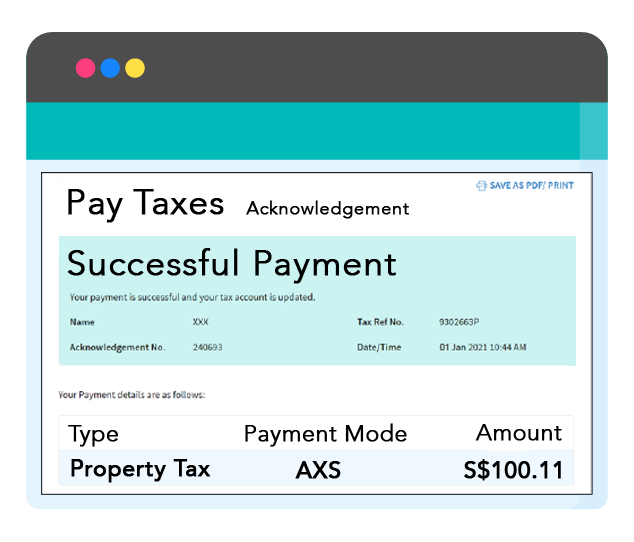 Successful payment will be updated immediately in your tax account.